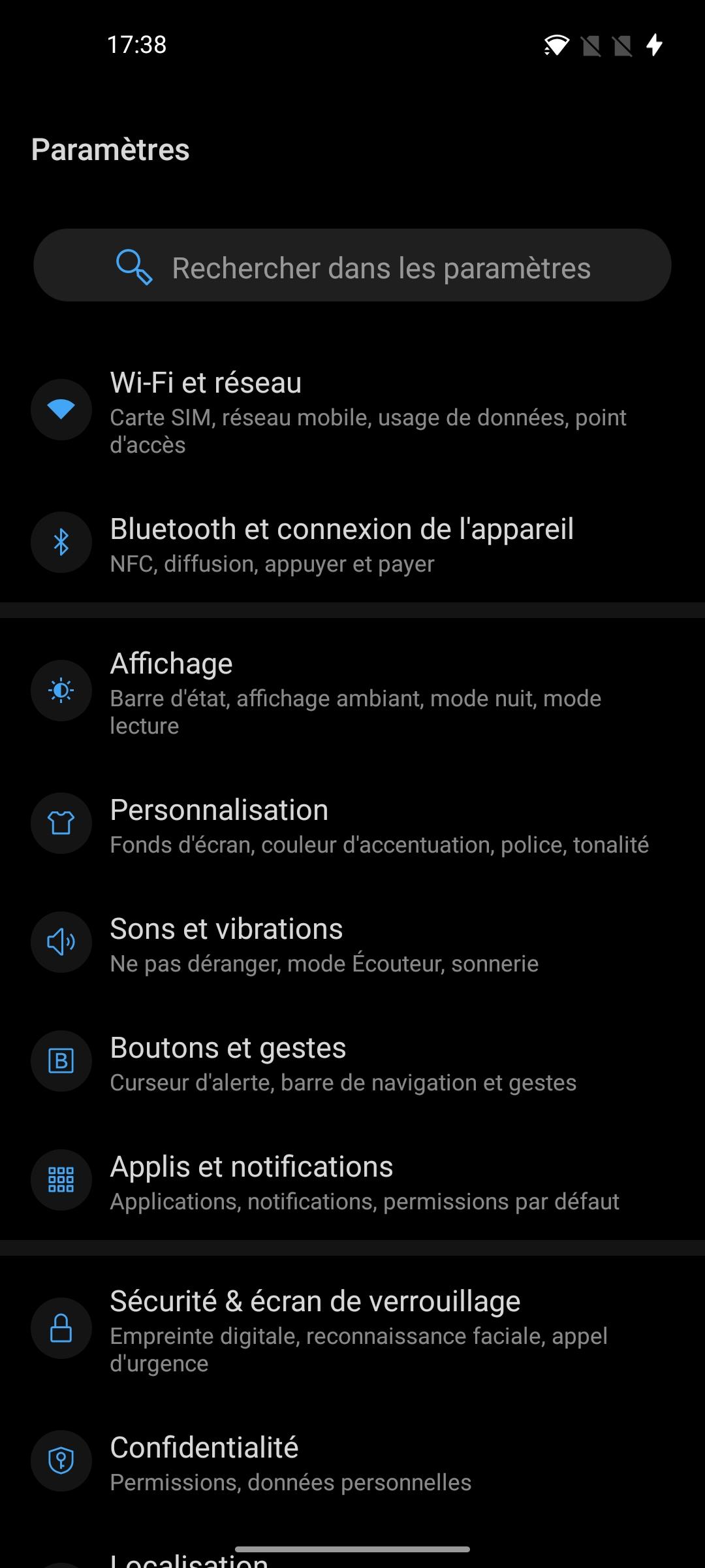 OnePlus 8 Oxygen OS - Paramètres