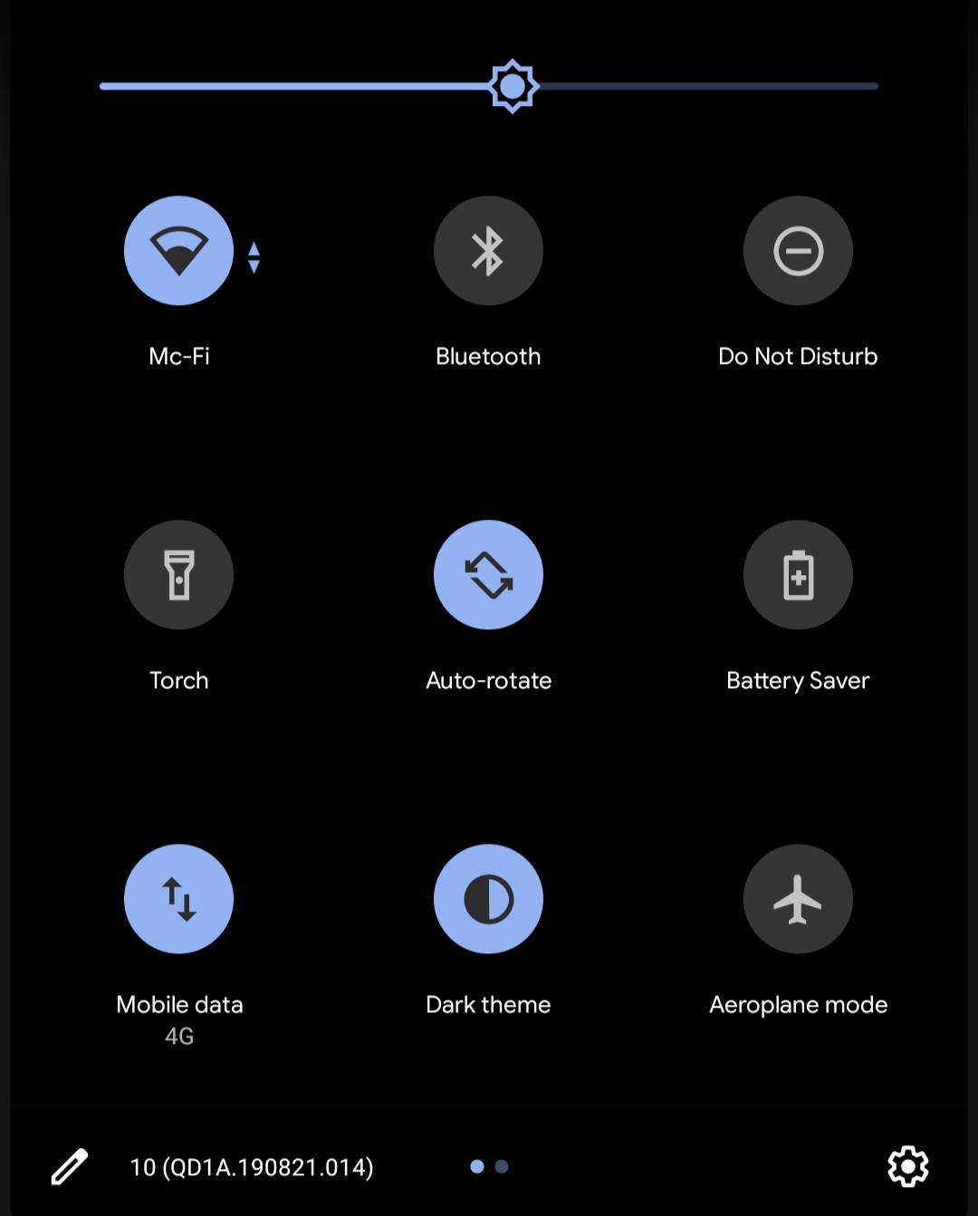Paramètres rapides sur Android stock