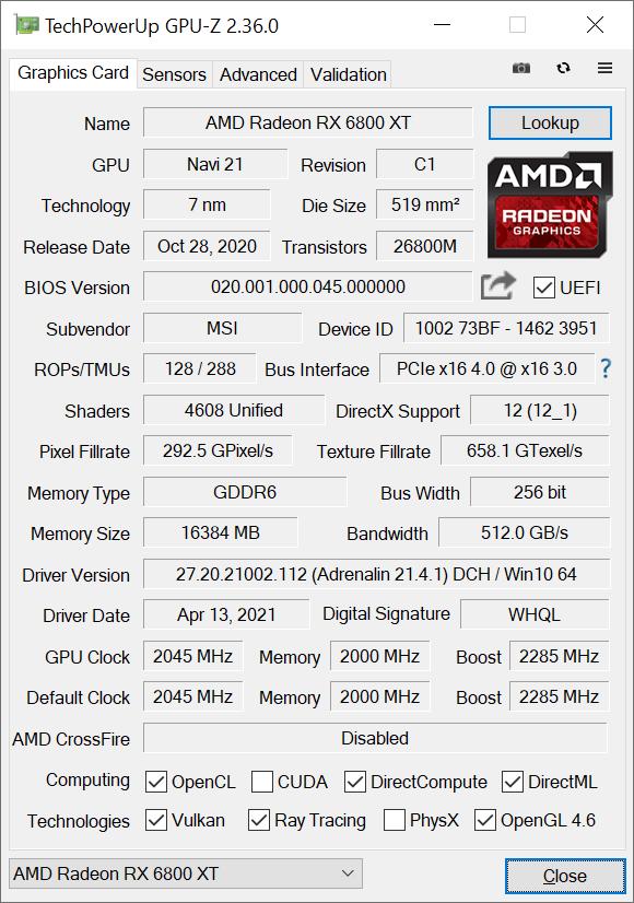 MSI Radeon RX 6800 XT X Trio