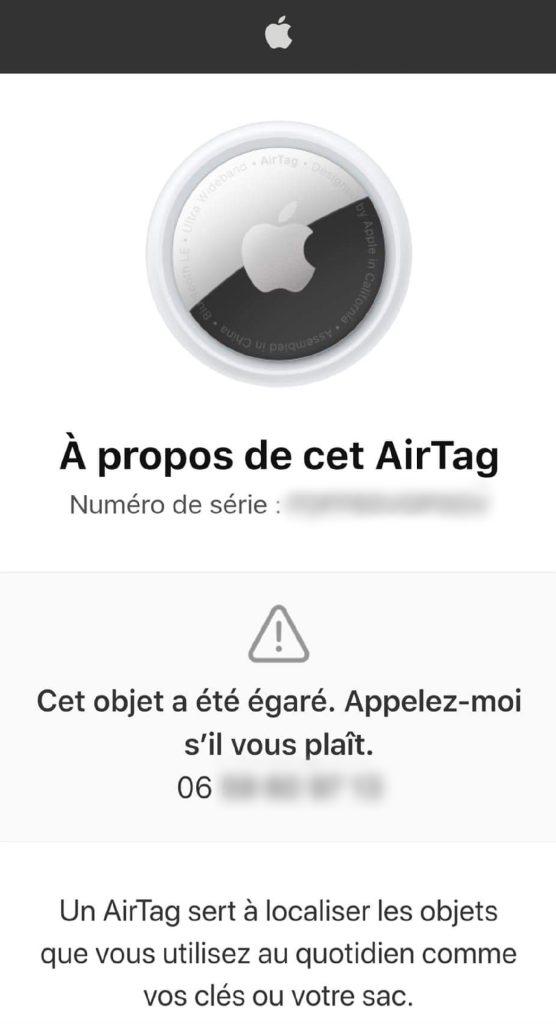 Apple AirTag - NFC Mode perdu