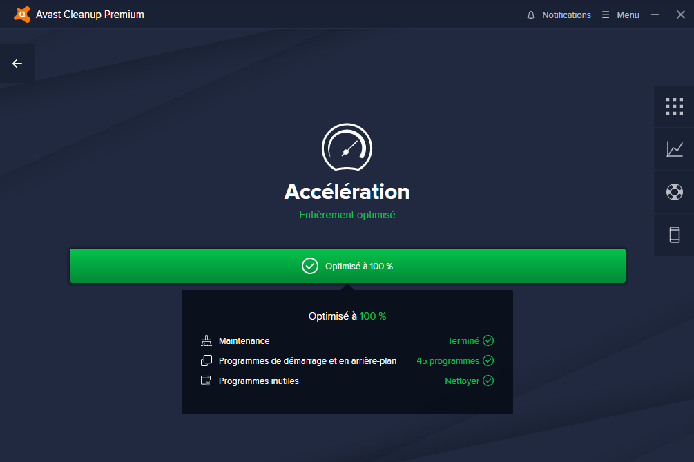 Système d'optimisation - Avast Clean Up Premium