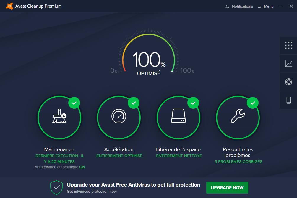 Écran d'accueil de Avast Premium Clean Up