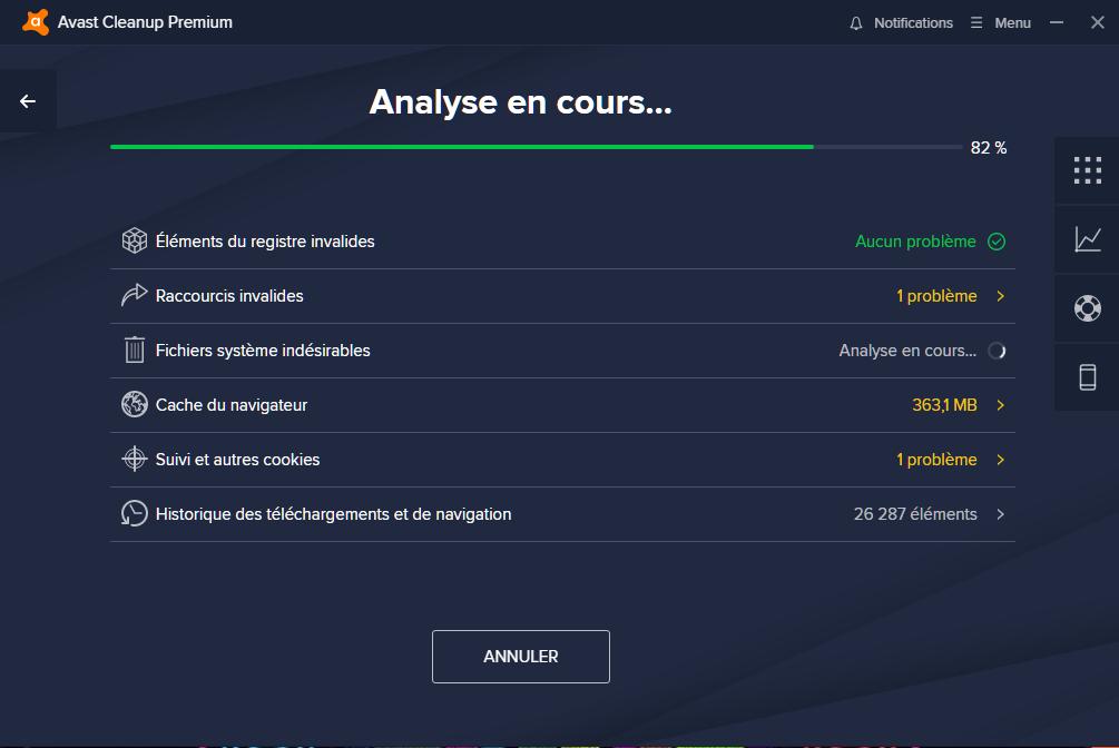 Analyse du système - Avast Clean Up Premium